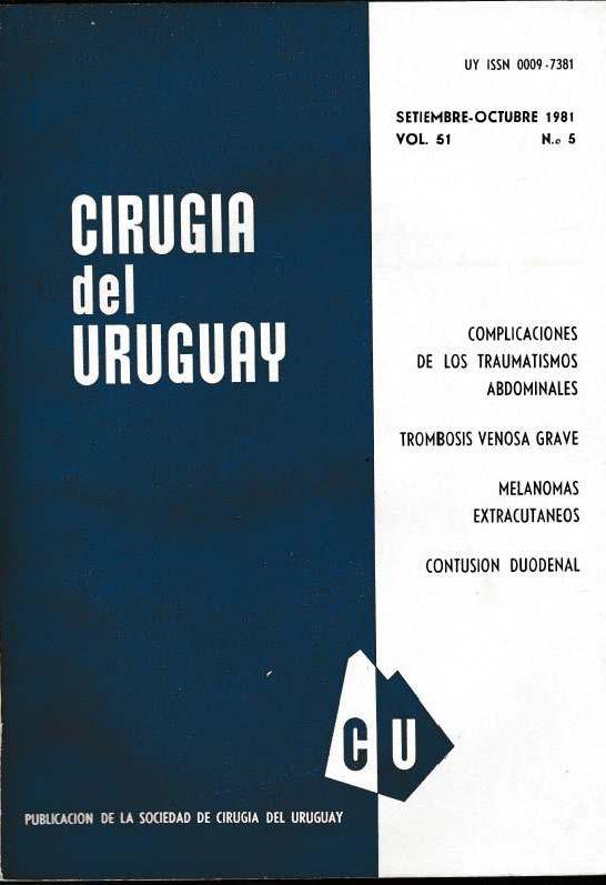 Ver Vol. 51 Núm. 5 (1981): Cirugía del Uruguay